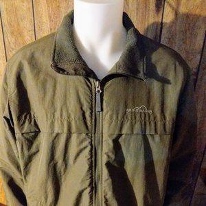 Men's Eddie Bauer fleece green coat Sz. L Tall